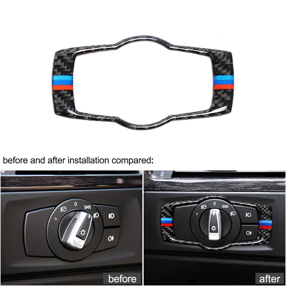 Кнопки интерьера Углеродные волокна фары наклейки накладки накладки укладки автомобиля 3 серии Аксессуары для BMW E90 E92 E93 2008-2012