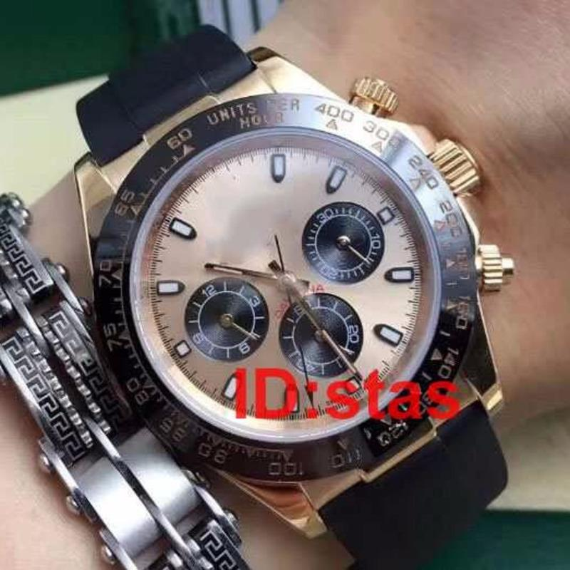 Top Rubber Strap Ásia 2813 Rose Gold 116519 LN Luxo Mens Watch automática Moda Casual Reloj Relógios de pulso