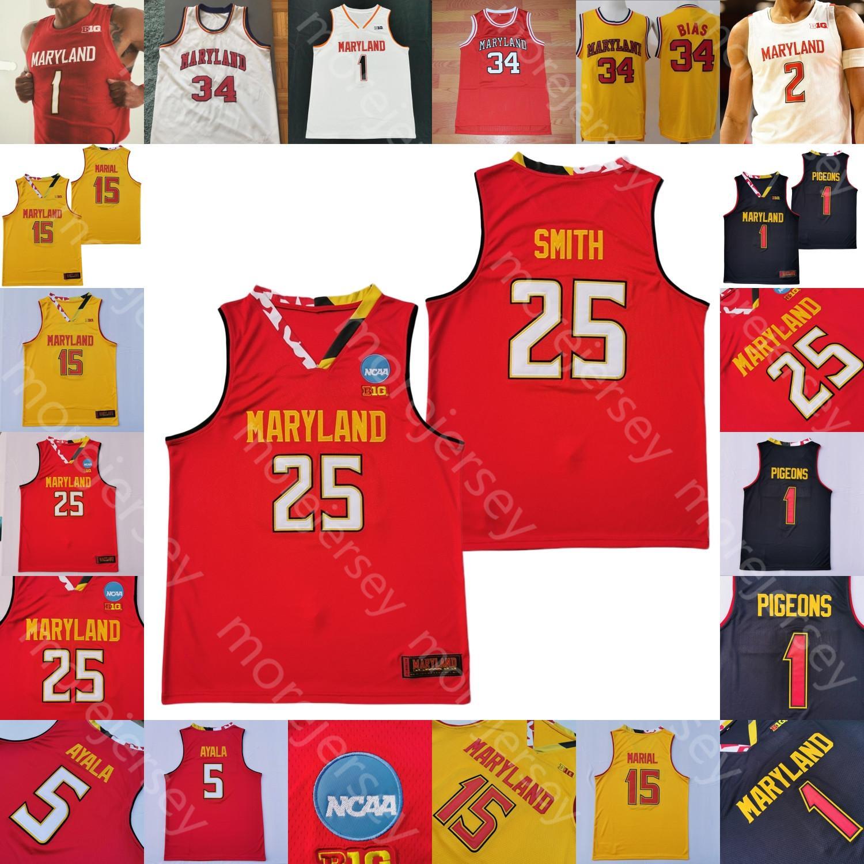 Benutzerdefinierte Maryland Terrapins Stats-Basketball-Jersey, NCAA College Cowan Jr Smith Ayala Bias Marial Wiggins Morsell Mitchell Scott Francis Hart
