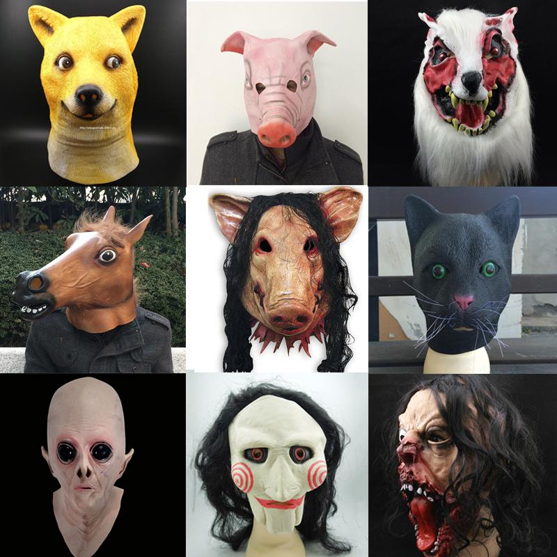 Halloween Scary Mask Novelty Pig Head Horror With Hair Animal Masks Caveira Cosplay Costume Realistic Latex Festival Supplies