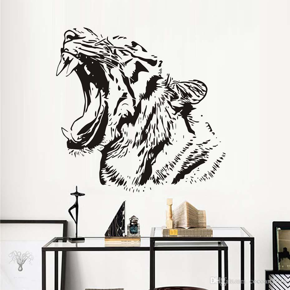 1 Pcs Afica Animals Wildcat Tiger Wall Stickers For Kids Rooms Waterproof Removable Vinyl Wall Art Decals Wallpaper Home Decor