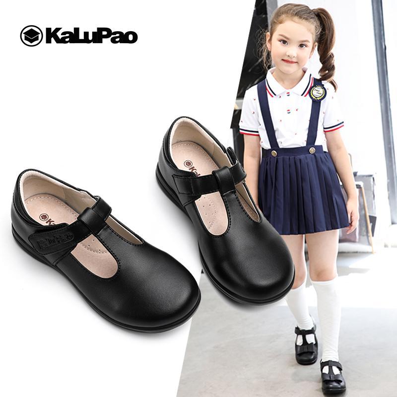 KALUPAO 2019 Primavera Crianças Couro menina calçados da forma T-cinta Branca Meninas Vestem sapatos macios Sola Sapatas da escola preto para meninas