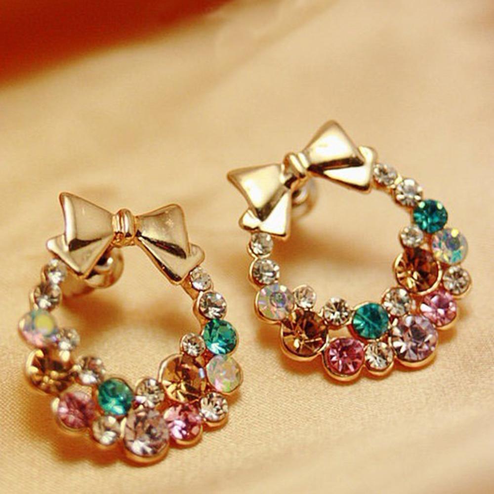 Coloré Strass Bowknot Boucles D'oreilles Femmes Lady Cadeau De Partie De Beaux Bijoux Accessoires Boucle D'oreille Sans Faille