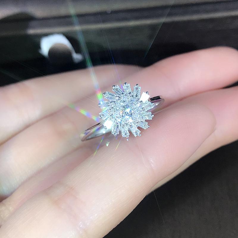 Edi Light Luxury Diamant-Verlobungsring Echte 18 Karat Weißgold 0.4cttw Natürliche Diamant Ehering Geschenk Schneeflocke Design Y19052301