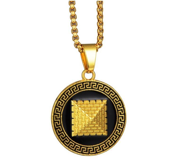 bijoux nouveau collier en alliage de disque pyramide hip hop créateur de mode personnalité bijoux pendentif exagération du disque de luxe