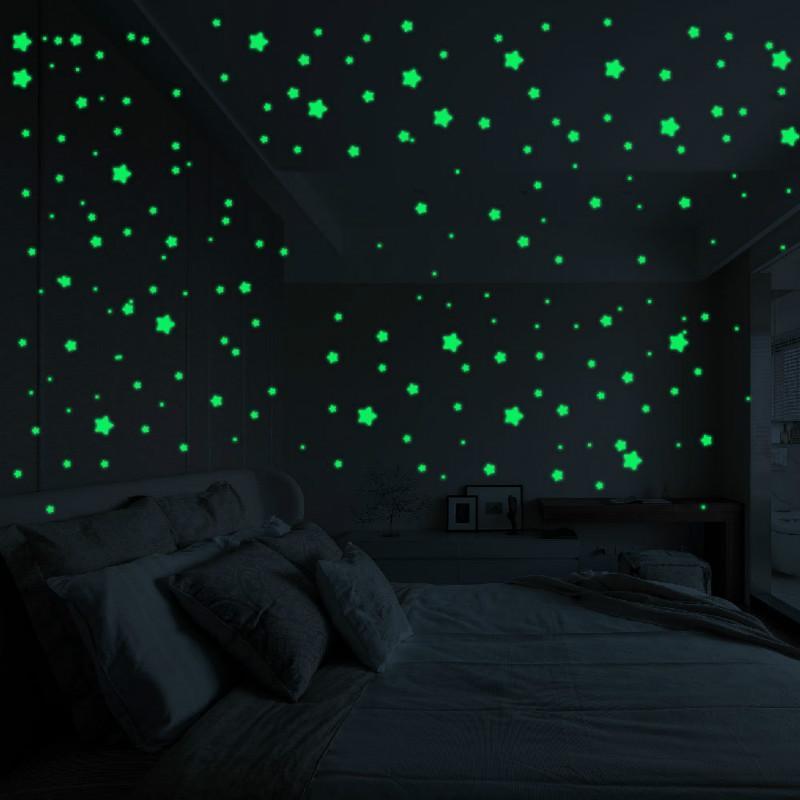 Флуоресцентное свечение в темноте звезды стены наклейки для детей украшения комнаты гостиная детская спальня потолок домашнего декора