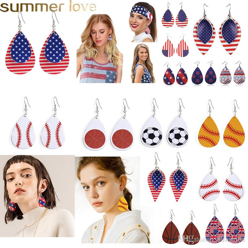 Fashion Design Baseball Sports PU Leather Earring UK United States Flag Teardrop Printing Dangle Earring for Independence Day Women Jewelry
