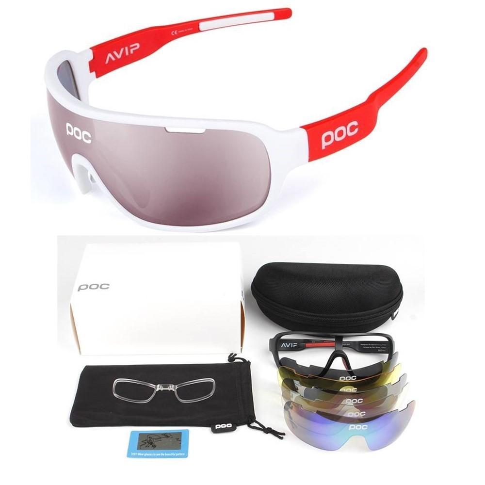 DE 5 Pieces POC Sunglasses Polarized Cycling Glasses Sports Glasses Glasses 2020