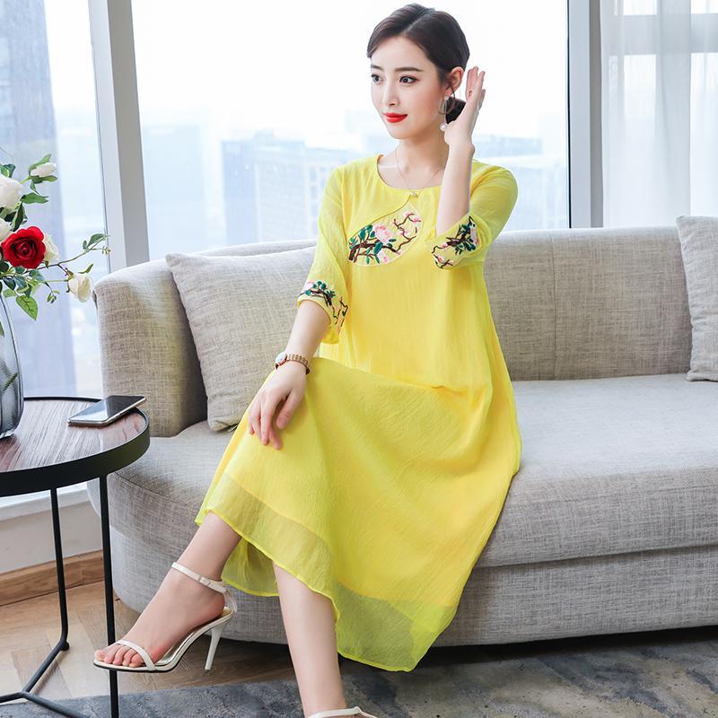2019 çin elbise geleneksel qipao cheongsam şifon çiçek baskı Nakış uzun qipao elbise tang kostüm Vestido Kadınlar