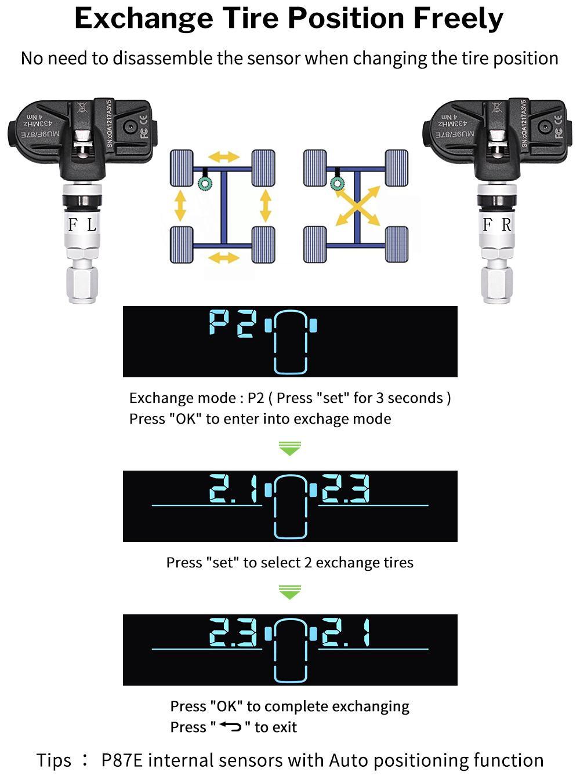 자동차 타이어 압력 알람 모니터링 시스템 태양 TPMS 디스플레이 4 내부 / 외부 센서 온도 경고 Visture