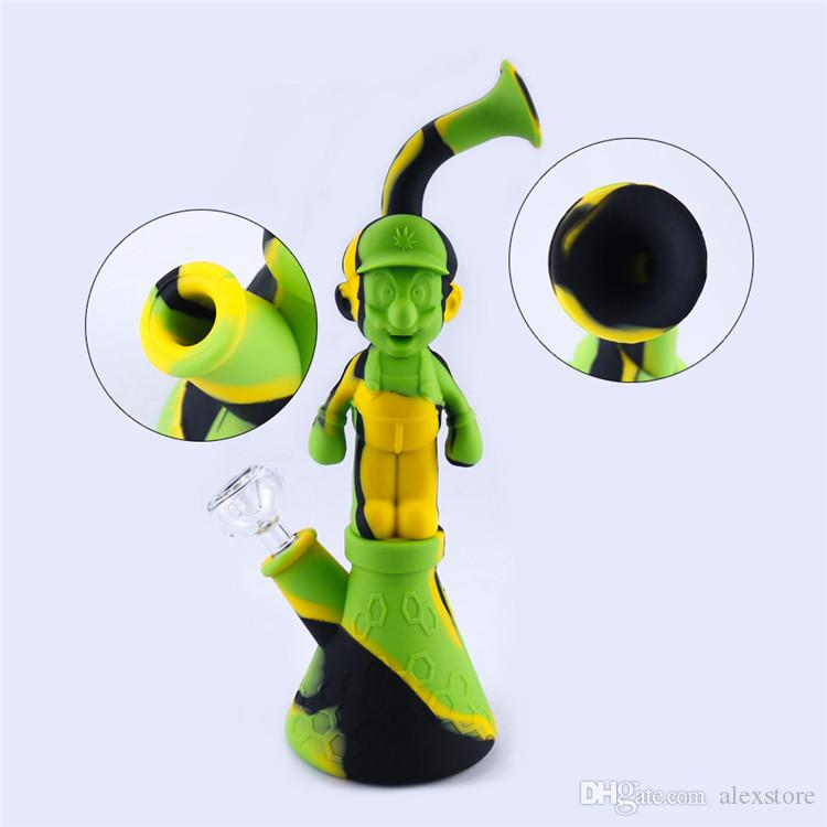 Silicone Water Pipes Mario Silicon Bubbler Bong Recycler Dry Herb Dab Wax Rig Tobacco Smoking Oil Burner Pipes With 14mm Glass DHL