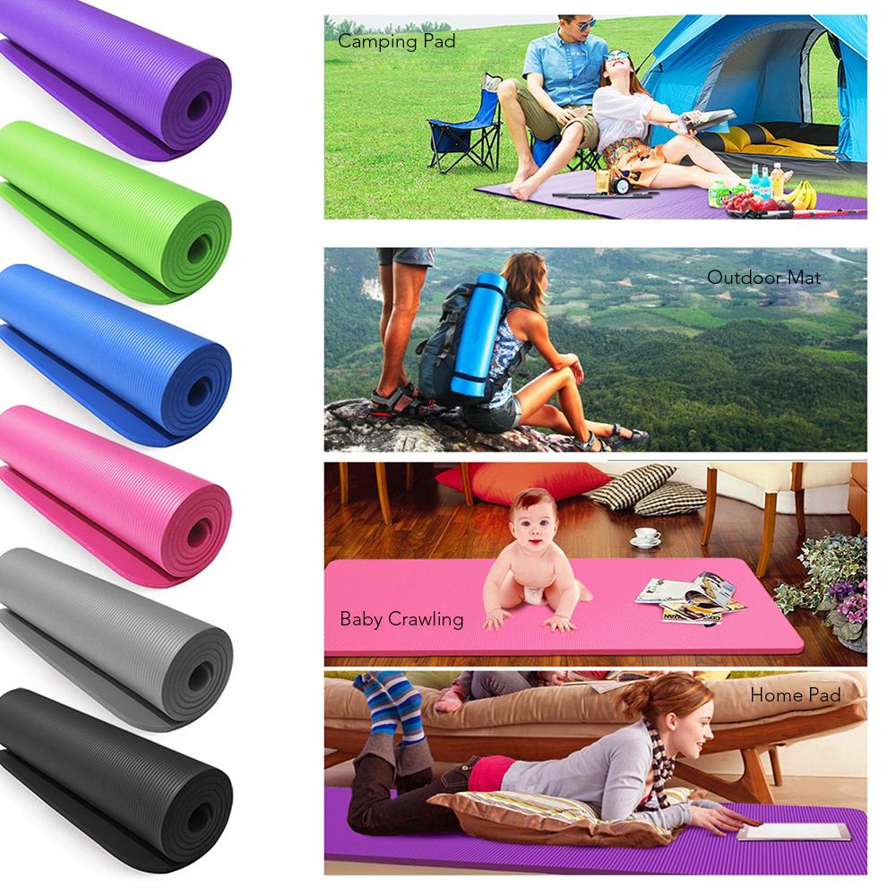 10mm Thick Yoga Mat Non-Slip Exercise Mat Pad with Carrying Strap and Mesh Bag for Home Gym Fitness Workout Pilates 183*61*1cm Y14681