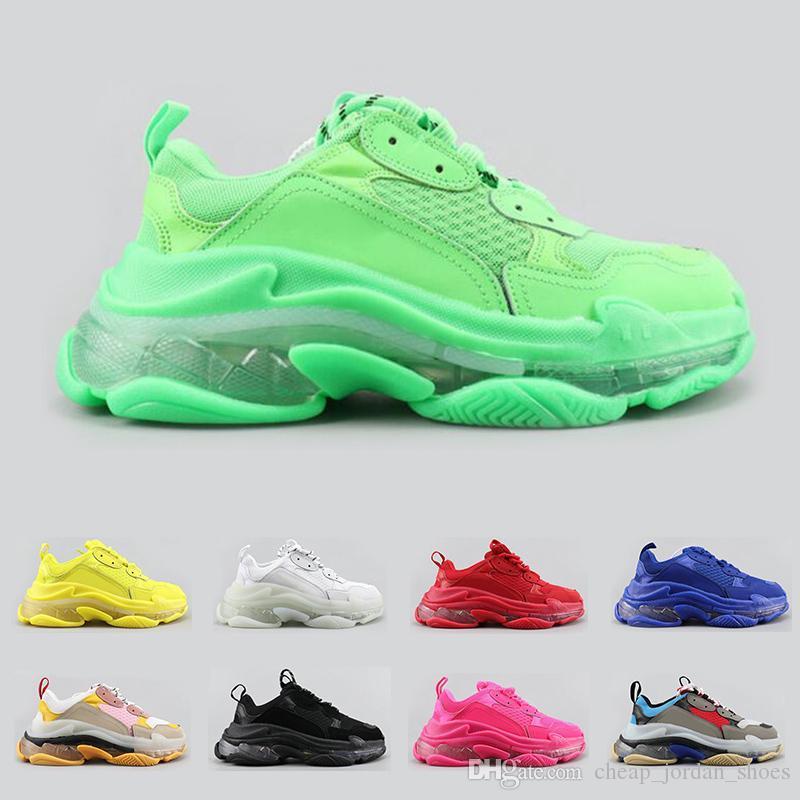 2020 الجديدة ثلاثية الاحذيه مصمم الأزياء الفاخرة للرجال والنساء واضحا النيون الوحيد أخضر أسود أبيض رجل الأزرق مدرب أحذية رياضية منصة الرياضية