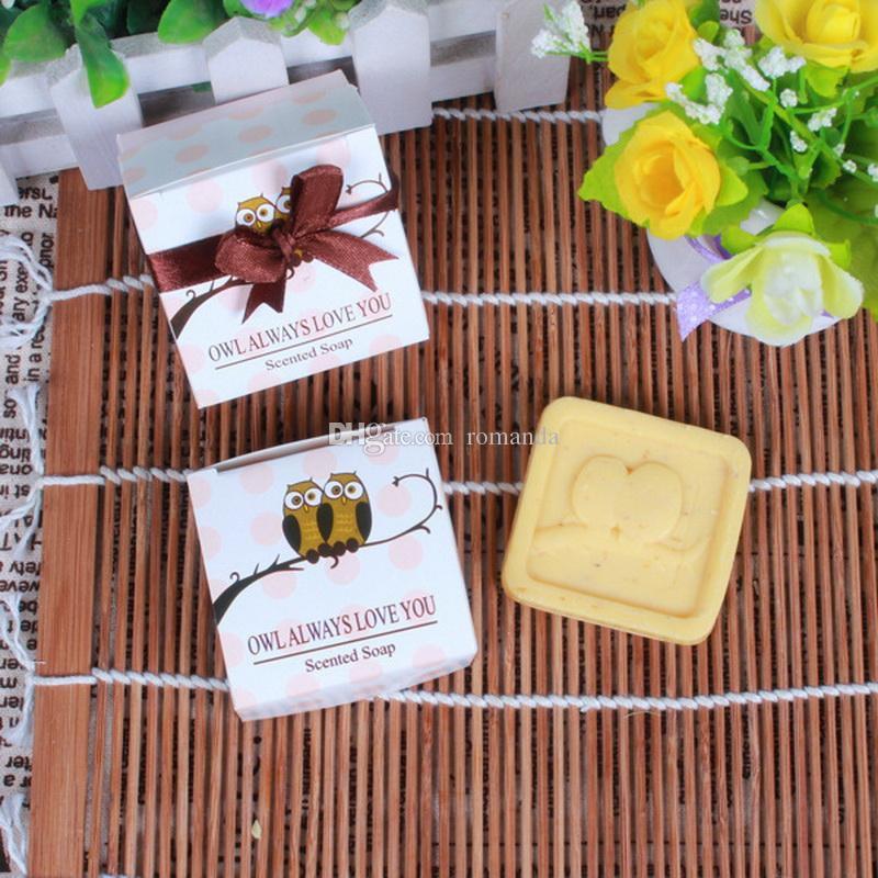 Venta al por mayor artística perfumada búho jabones para la boda favores regalo ducha de bebé jabón decorativo mano Savon DHL envío gratis