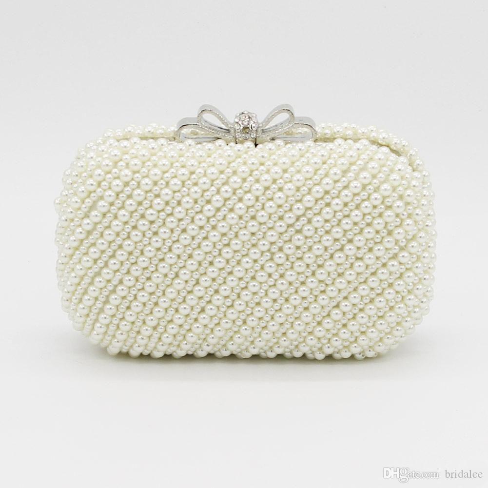 Nuovo arrivo 2020 Doppia perle completa perline perline Bridal Bridal Borse a mano Borsa Anello Signore Serata Partito serale Una spalla Piccola Clutch Banks
