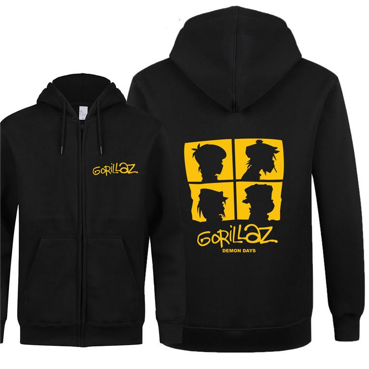 Coton Zipper Hoodies Quality Gorillaz Nouveaux Sweatshirts Hommes Automne Hiver Jack Coat Musique Gorillaz Hoodies High Cleece Kneql
