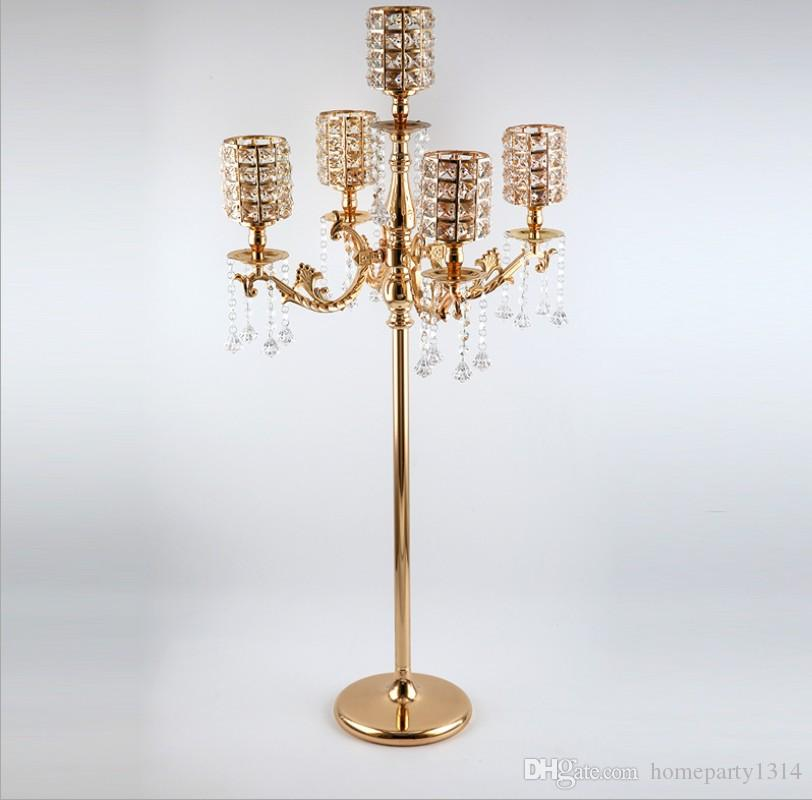 2019 luxury modern 5 arms Gold crystal candlestick tall large candle holders Wedding Candelabra Table Centerpieces Event Road Lead(110 CM)