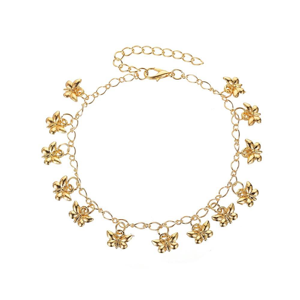 Chain Link Pulseiras Tornozeleiras de ouro borboleta encanto chapeado Tornozelo Pulseiras Barefoot Sandals