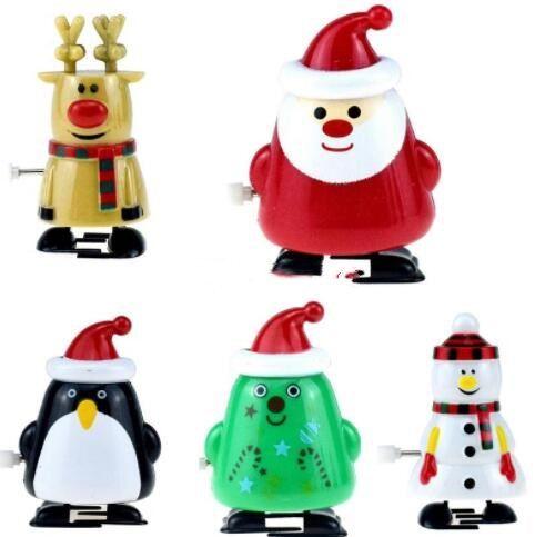 Navidad Wind-up juguetes divertidos pueden caminar reno de Santa muñeco de nieve de acción de juguete niños Figuras de días festivos WY504 regalo
