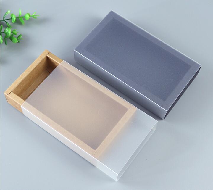 9 boyutları ile Kraft siyah beyaz hediye ambalaj kutusu pencere kraft karton kağıt hediye kağıt kutu kapaklı karton karton