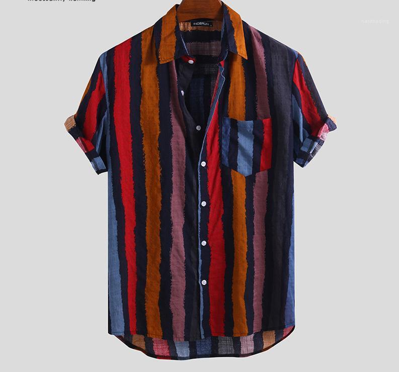Designer Lapel cou à manches courtes hommes Taille Plus Street Style Casual Shirt Mens rayé Imprimer desserrées Chemises d'été