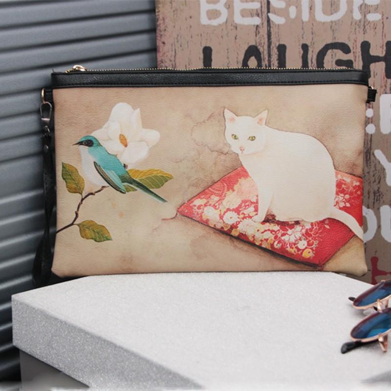 Женщины Сумки Cute Cat посыльного сумки плеча Crossbody сумка Pu кожа Vintage Style Болса Lady Handbag Конверт Клатчи