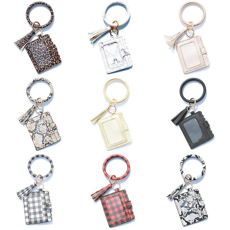 Leder-Quaste Schlüsselanhänger Kartenhalter Tasche Schlüsselanhänger Ring für Frauen Männer Leopard Snake ID Wallet Gold Kabaw Mode Armband Keychain