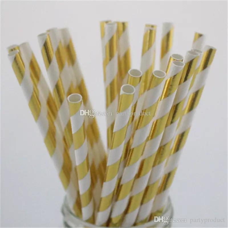Free Shipping 1000 PCS Paper Straws Solid Striped Chevron Wedding Decoration Supply Party Disposable Gold Silver Foil Drinking Straws