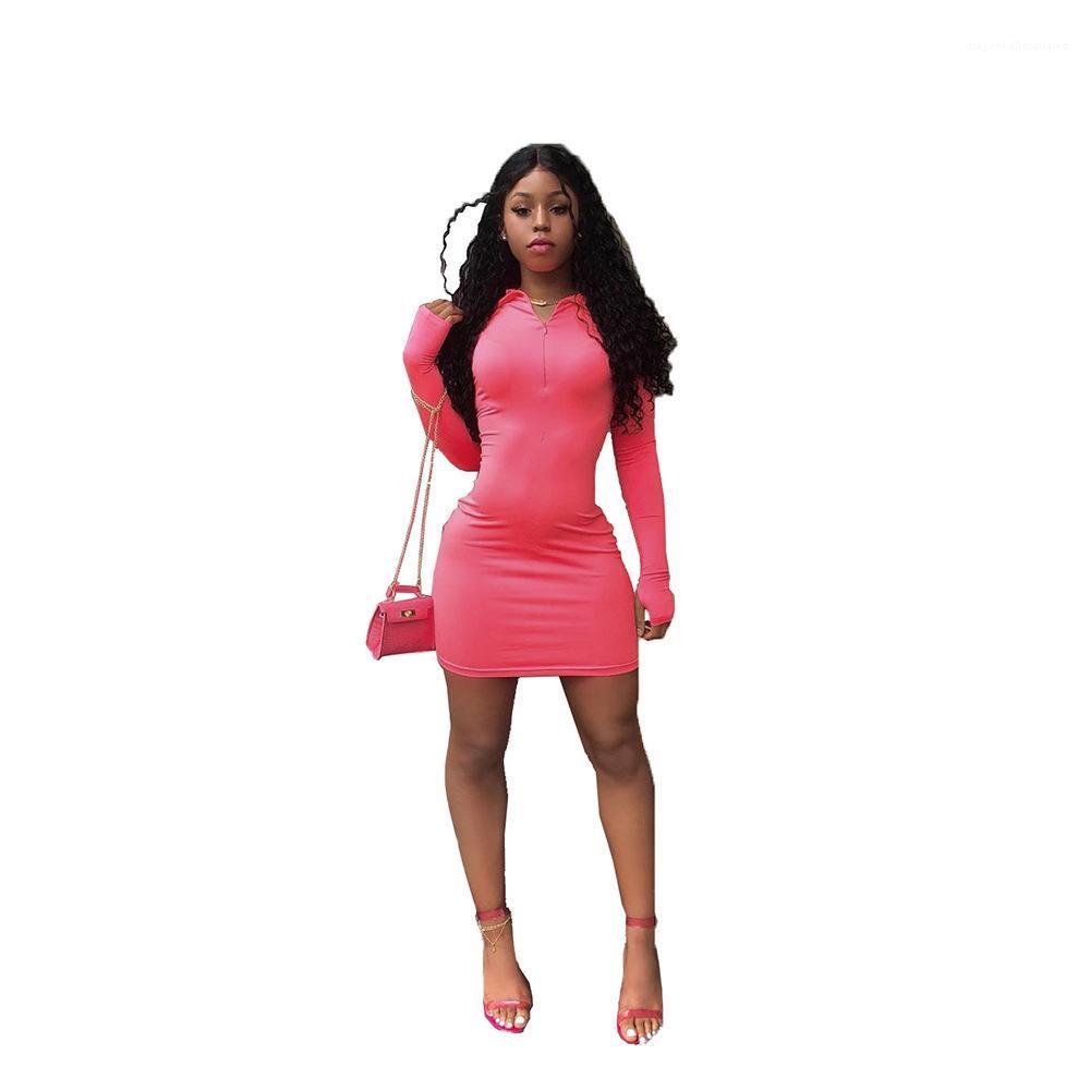Sexy Robes Femmes d'été Designer bonbons couleur Robe moulante Printemps Automne gaine manches longues