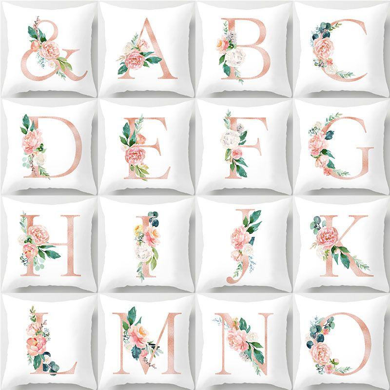 Moda 26 İngilizce Mektup Yastık Kılıfı Ins Çiçek Pamuk Araba Ev Dekoratif Aksesuarları 45x45 cm