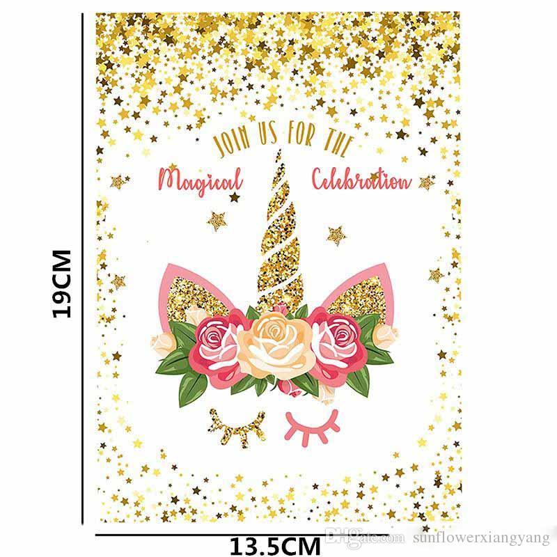 Christmas Greeting Cards.Unicorn Party Supplies Christmas Greeting Card Join Us For The Magical Celebration White Gold Powder Birthday Invitation Cards Cards Greeting Cards