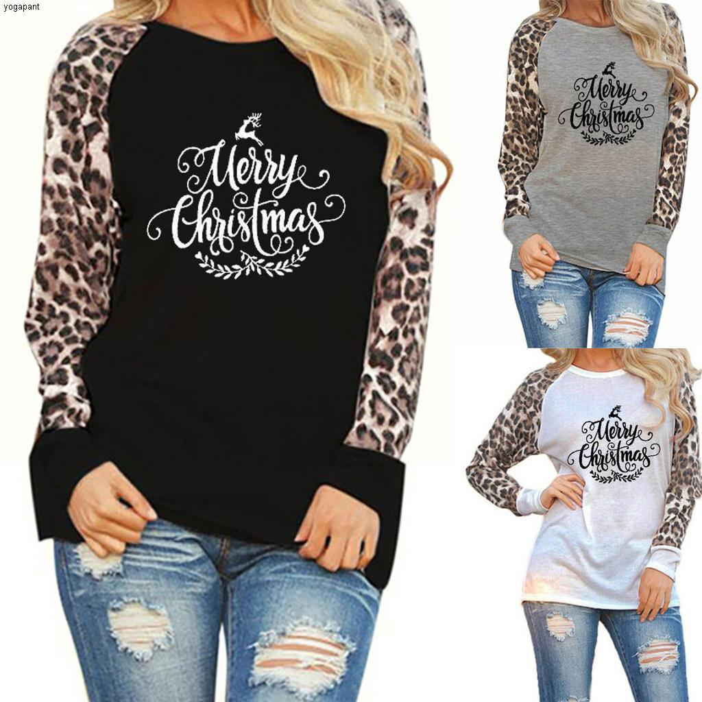 Women's Oversize Sweatshirts Patchwork Leopard Blouses Ladies Long Sleeve Warm Tops Autumn Spring Casual Pullovers ##4