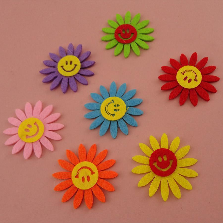 50pcs5.0cm8.0cm9.5cm 아기 머리띠를 위한 다채로운 펠트 해바라기 헝겊 조각 데이지 꽃 아플리케 부속품 아이 머리띠