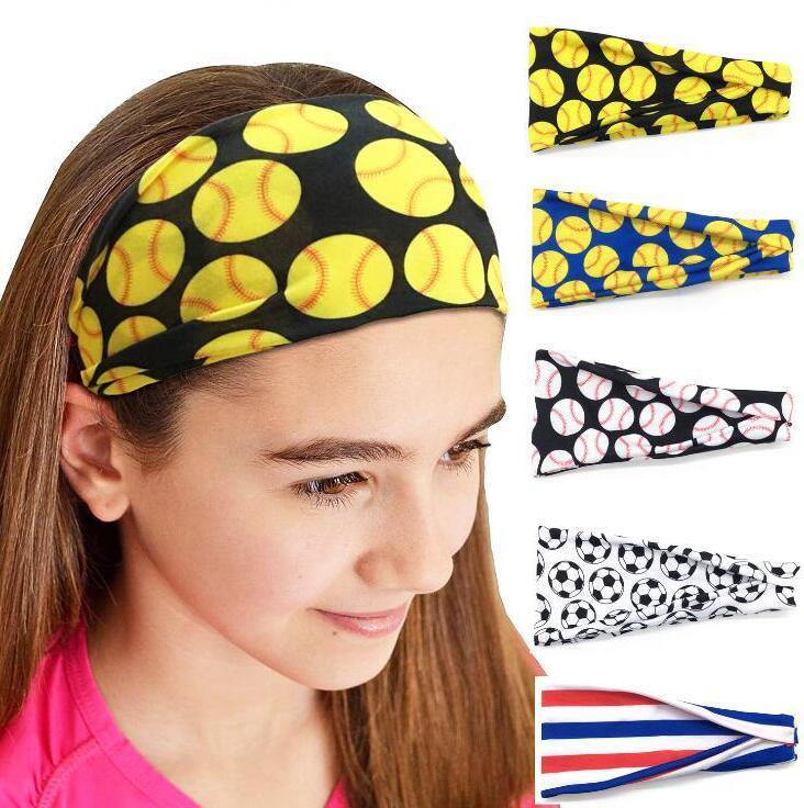 Fille Baseball Sport Hairband Sweat Bandeaux Yoga Fitness Foulard Sport Hairbow Femmes Hommes Softball Football Équipe Bandeaux DHD41