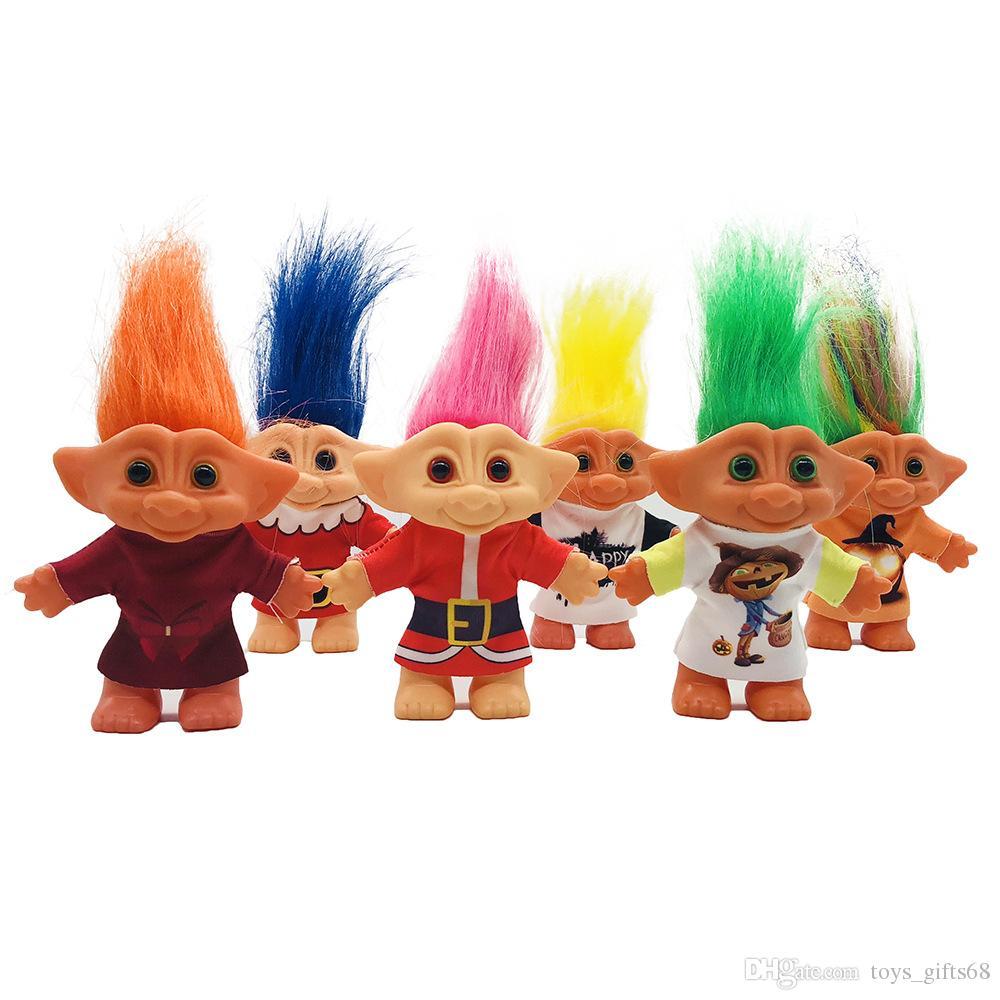 Nuovo bambola di troll del vestito da Natale di 10cm Bambola di bambola di bambola di Troll Bambola di bambola di bambola di nostalgico brutta orribile