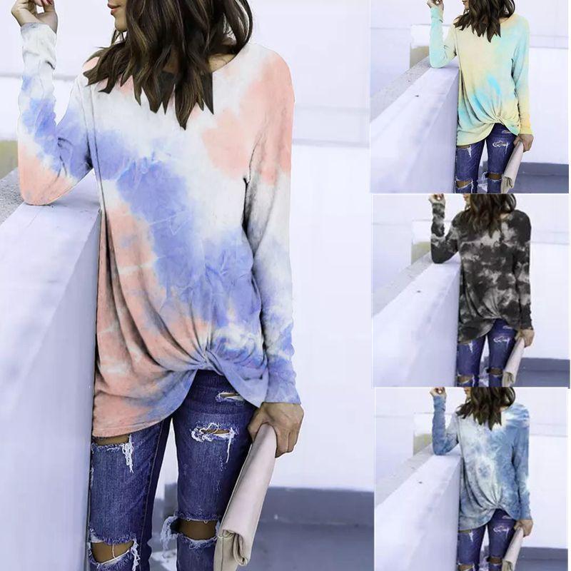 Para mujer Camiseta ocasional de la nueva llegada del otoño del resorte de manga larga de las señoras de camisetas de alta calidad Streetwear Camisetas Mujeres Faldas