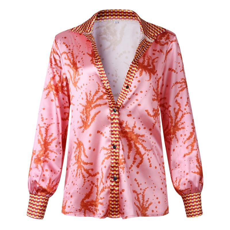 Camicetta nuove donne 2020 vestiti di autunno camicetta superiore Camicie Donna casuale allentato stampato con scollo a V a maniche lunghe vacanze Blusa Mujer