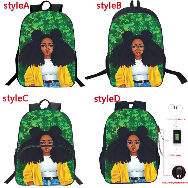 Красивая афро Lady Девушка USB зарядка Рюкзак Студенты Мальчики рюкзака 4 Стиль Мода Африка Красота принцессы Schoolbag