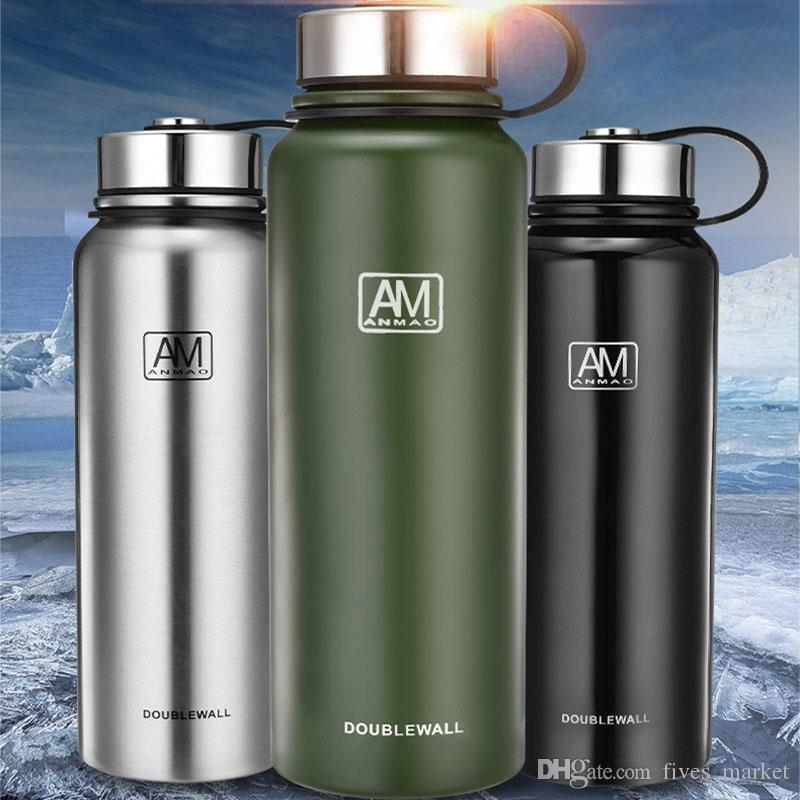 Portable Stainless Steel Water Bottles Double Vacuum Insulated Mug Cup Outdoor Hiking Climbing Kettle Water Bottle 610ml 4colors