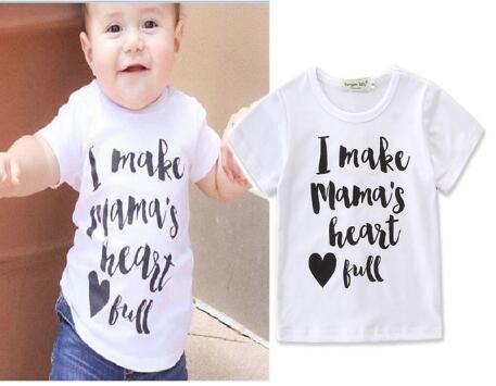Мальчик девочка футболка одежды малыша летом с коротким рукавом Письмо печати t-рубашка топы малышей мальчики девочки хлопок одежда 2-6T