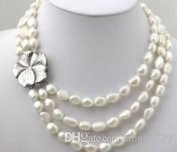 """Collar blanco de 3 hileras de perlas de agua dulce 7-8mm 18-20 """""""