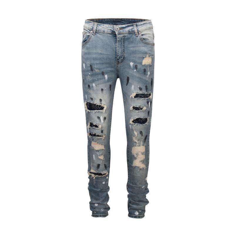 Faux-Diamant-Strass Biker Farbe Patchwork Spliced ausgefranste Distressed Wash Zerstören Jeans-dünne Hose Street zerrissene Denim Men Hosen