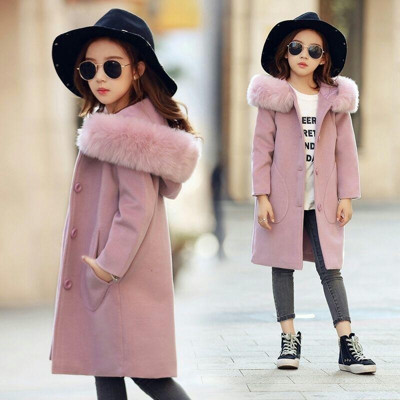 2019 ребёнки Розовый Толстые Большой меховой воротник пальто шерстяное с капюшоном куртки Дети Осень Зима Одежда Y191024