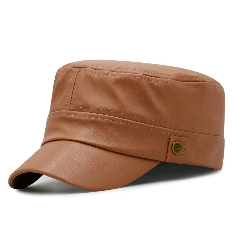 Cap Outono PU fina Kagenmo Moda Casual Feminino Curto Brim Visor PU Leather Mulheres Plano Exército Top Hat Outdoor
