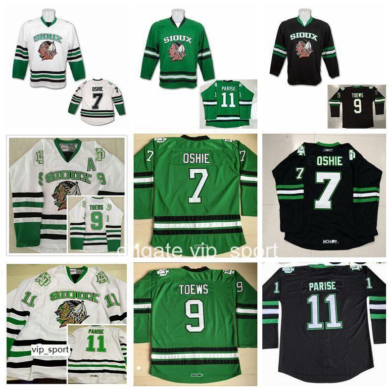 Homens 9 Jonathan Toews College Jersey North Dakota Luta Sioux 11 Zach Parise 77 T.J. TJ Oshie Hockey Jerseys Equipa Verde Branco