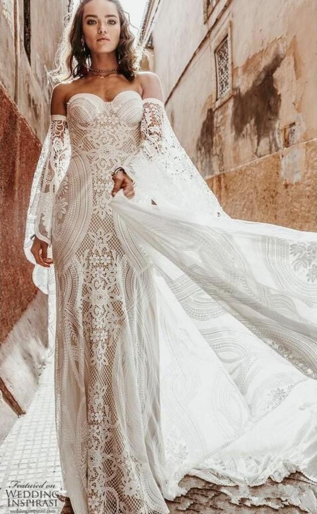 exy Wild Heart Bohemian Mantel Brautkleider Langarm Rue De Seine Weinlese-Häkelarbeit SpitzeApplique Land-Braut-Kleid robe de mariee