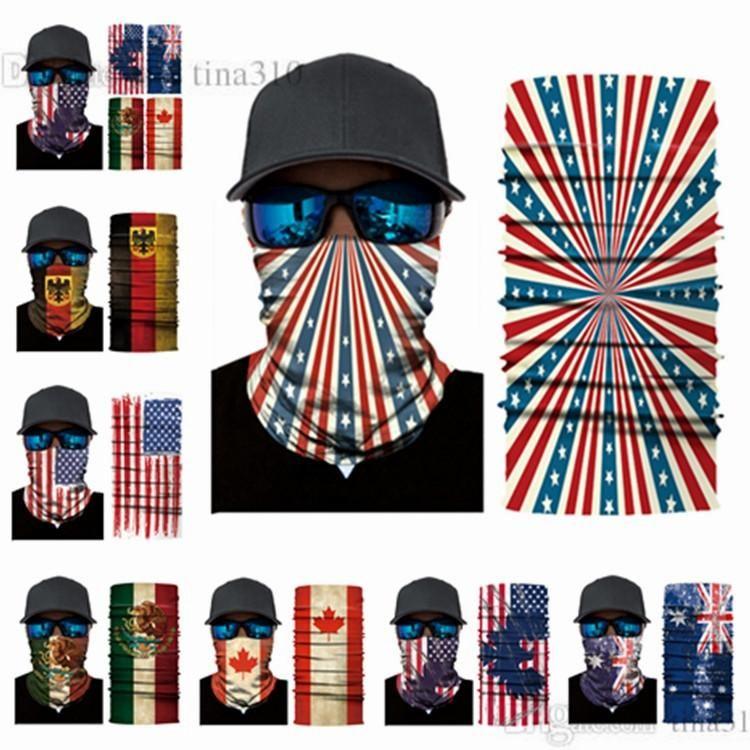 Nouveau Halloween masque multi-fonction de foulard magique masque de sport écharpe Le drapeau national masque partie chapeau pirate T2C5032