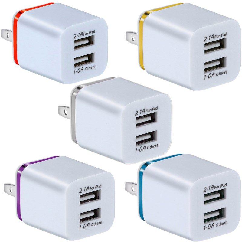 듀얼 USB 포트 2.1A + 1A EU 미국 AC 홈 여행 벽 충전기 전원 어댑터 플러그 삼성 갤럭시 노트 8 10 S8 S10 HTC Android 휴대 전화