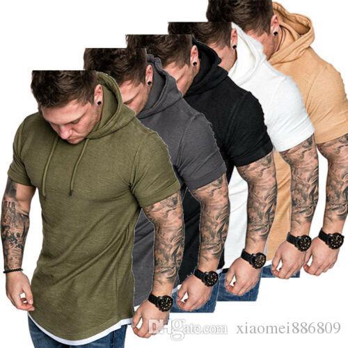 2019 Mens Fit Magro Verão T-Shirt Casual Camisa Tops Roupas Com Capuz Muscle Tee