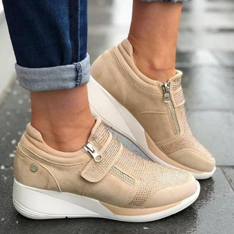 Vogue Flock High Heel Lady Casual Women Sneakers Leisure Platform Shoes Breathable Height Increasing Shoes